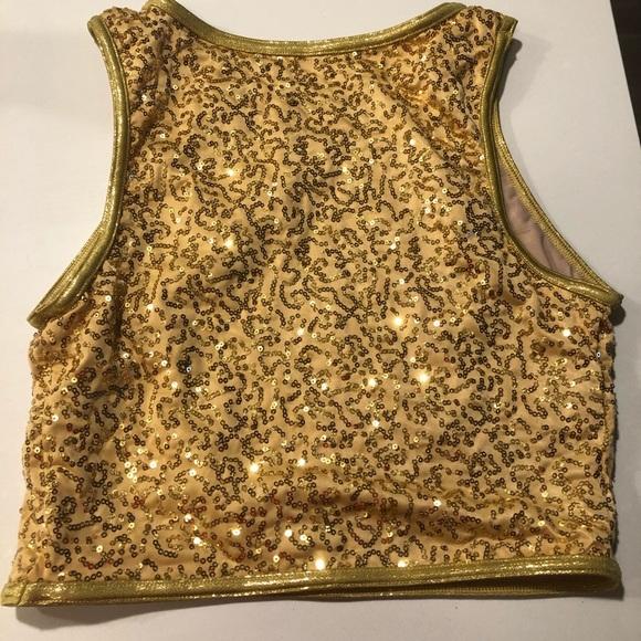Balera Gold Sequin Crop Top - Dance Costume - MA